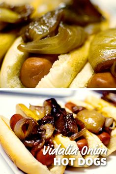 These are the typical onion-dogs that you get at the baseball field or amusement park. This vidalia onion hot dog is topped with caramelized, juicy and just the right amount of crunchy! Entree Recipes, Grilling Recipes, Dinner Recipes, Cooking Recipes, I Love Food, Good Food, Yummy Food, Jai Faim, Hot Dog Toppings