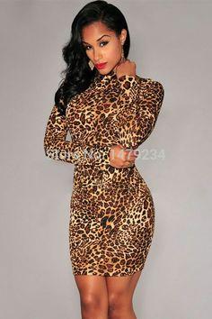 39378ef1b28 Cheap High Neck Leopard Print Club Dress online - All Products