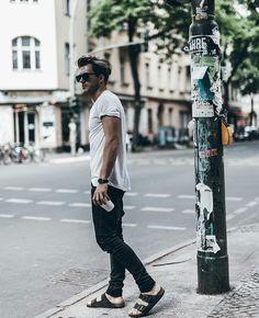 Man style. White t-shirt. Black jeans. Birkenstock sandals. Klemenswhite