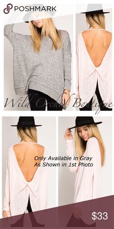 TWISTED BACK PULLOVER - 🌸1 LEFT🌸 Twisted T Strap backless oversized pullover tunic top.  Only available in gray. S-M-L.               60% cotton 40% Rayon ❇PRICE FIRM 🌸Reasonable offers are considered on all listings if that listing is not on sale or marked firm🌸Ty💕 Tops