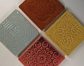 Arts and Crafts Mission Style Tile Coasters - Set of 4 - Pinecone - Dragonfly - Ginkgo - Rose