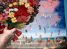 Enrique Grau #Arte #Colombia Enrique Grau, uno de los más famosos pintores y escultores colombianos, diseño el hermoso telón de boca del Teatro Heredia de Cartagena.