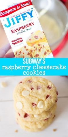 Raspberry Cheesecake Cookies are an easy, fruity cookie that uses Jiffy Muffin Mix. This Subway Copy-Cat cookie will quickly become a family favorite! |Cooking with Karli| #subway #copycat #cookies #raspberrycheesecake #recipe Cooking Mussels, Cooking Basmati Rice, Cereal, Breakfast, Food, Eten, Hoods, Meals, Corn Flakes