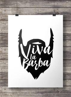 "Printable art   Viva la Barba!"" (Long live the Beard!) print   Beard print   Hipster minimalist modern graphic print   Minimal Printable art"