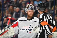 Photo galleries featuring the best action shots from NHL game action. Washington Capitals Hockey, Braden Holtby, Columbus Blue Jackets, Nhl Games, Referee, Columbus Ohio, Motorcycle Jacket, Period, Third
