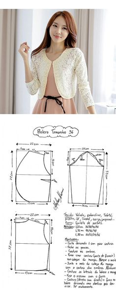 Boleros inspiration to make your own Blouse Patterns, Clothing Patterns, Blouse Designs, Bolero Pattern, Jacket Pattern, Sewing Blouses, Diy Kleidung, Apparel Design, Sewing Patterns Free