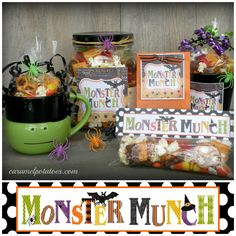 """Monster Munch and Printable Tags- a fun way to say Happy Halloween to all your """"ghoul"""" friends, little """"munchkins"""", or any other """"fiendish"""" fellows you'd like to share a treat with!"""