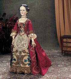 Superb Early Wooden Lady with Carved Hair and Documented Costume. http://Theriaults.com