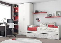 Cama nido con cama de arrastre, con escritorio, estanterías y armario.