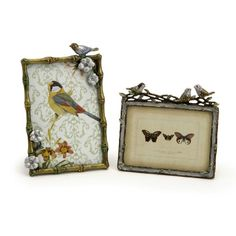Set of 2 pewter picture frames with bird and flower accents. Product: Small and large picture frame Construction Material: Pewter Color: Multi Features: Small frame holds a x photo Large frame holds a x photo Dimensions: Small: H x WLarge: H x W Picture Frame Display, Large Picture Frames, Photo Picture Frames, Sweet Picture, Photo Wall, 6 Photos, Large Photos, Family Photos, Bird Pictures