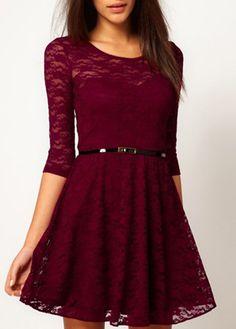 Beautiful A Line Long Sleeve Lace Dress