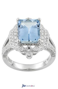 2.62ct Rectangular Fancy Step Cut Santa Maria Aquamarine, .63ctw White Diamonds 18k White Gold Ring