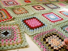 crocheted granny square blanket