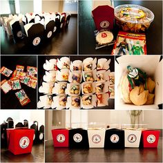 Ninjago Party Favors (could also do chocolate dipped fortune cookies inside) also has water bottle printable