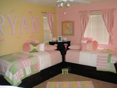 Twin Girls Room modern bedroom