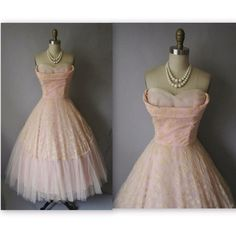 Vintage 1950's Flocked Chiffon Tulle Pink. I was born in the wrong era.