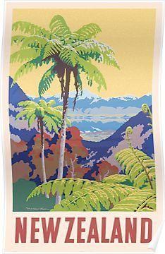 Travel Poster New Zealand Gift Vintage Art Print