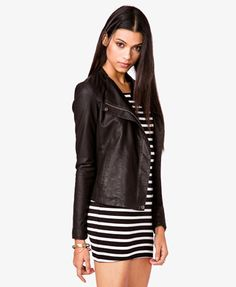 Faux Leather & Knit Moto Jacket | FOREVER 21 - 2036378987