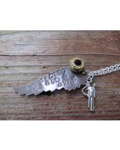 "Jill's Jewels ""Protected by God and Guns"" Angel Wing with 9mm Bullet and Pistol Charm Necklace - Silver"