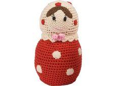 gehaakt russisch knuffelpopje, rood met stipjes (Anne-Claire Petit)