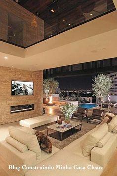 Arquitetura moderna em benefício do meio ambiente! 1- Sonho de casa! Amo esse efeito luminotécnico visto do interior da casa!...