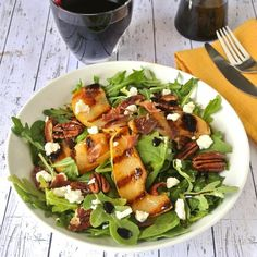 Grilled pear and crispy prosciutto salad with goat cheese, toasted ...