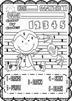 halloween maths funny worksheets for p k k and 1st grade set 1 - Halloween Worksheets For 1st Grade
