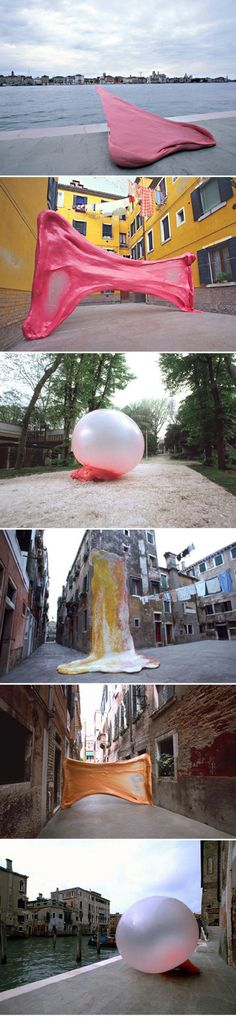 Chewing outdoor installations in Venice:  - Simon Decker