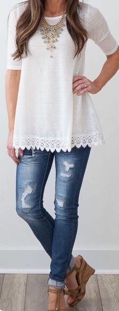 Rolled up skinny jeans with a simple white top. Lovely! Try Stitch Fix!!! Best clothing subscription company. Just click on the picture to get started. Spring/summer 2016 2017 outfit style ideas. #summer #denim #white #stitchfix #inspiration #affiliate #preview #trending