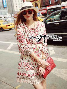 Lady Ribbon's Made  Lady Merry Blooming Print Glittery Mini dress   มินิเดรส แขนยาว พิมพ์ลายดอกไม้สีแดงสดใส  ✨ดีเทลแต่งเลื่อม ลุคคุณหนู สดใส ด้วยลายพิมพ์โทนสีแดง ชิคๆแบบสาวเกาหลีค่ะ  #adsdress