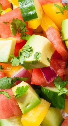 Cucumber Watermelon Summer Salad ~ refreshingly delightful, tossed together with a light avocado oil citrus dressing.