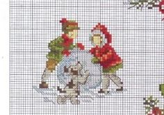 Building a Snowman, Veronique Enginger, Point de Croix, Dog, Puppy, Boy and Girl, Christmas, Winter, Snow, Noel, Needlepoint, Cross Stitch Pattern