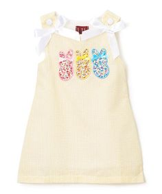 Love this Yellow Seersucker Glitter Bunny A-Line Dress - Infant, Toddler & Girls on #zulily! #zulilyfinds