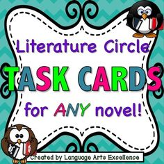 This set of 32 unique task cards contain engaging thought-provoking questions meant to prompt lively discussion for literature circles or books clubs in your middle or high school ELA classroom. Questions are mainly reader-response and are fully aligned to the Common Core.