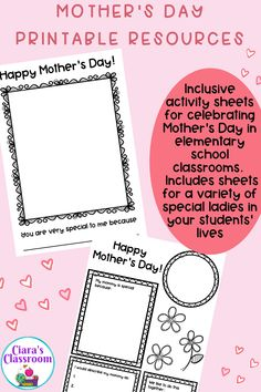An inclusive resource for marking or celebrating Mother's Day with all of the children in your class?Do you have students in your class who might want to celebrate another important lady in their life on Mother's Day? If so, this is the resource for you! This pack includes portrait drawing sheets and writing templates. Includes resources with mom, mommy, mum, mother, stepmom, stepmommy, stepmum, nana, grandma, granny, grandmother, aunt and a special lady in my life. Available from TpT. Primary School Teacher, School Classroom, Teacher Pay Teachers, Nana Grandma, Aunt, Mom, Mother's Day Activities, Drawing Activities, Multicultural Classroom