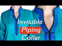 Piping collar neck cutting and stitching Hindi/Ghoom Piping collar Neckline Designs, Dress Neck Designs, Collar Designs, Blouse Designs, Collar Kurti, Collar Dress, Sewing Collars, Kurta Neck Design, Shirt Tutorial