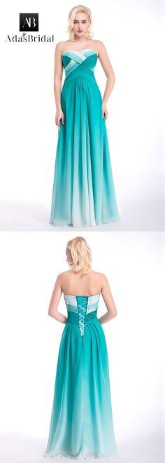 In stock unique gradient chiffon sweetheart neckline a-line prom dresses with pleats. (SOD25871) - Adasbridal.com