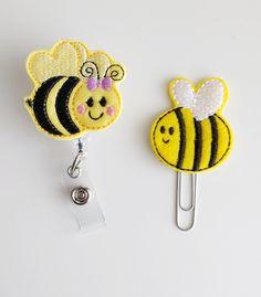 Bee Felt Paperclip   Badge Reel   ID Badge   Felt Holder   Lanyard   Planner Clip   Planner Accessories   Spring Felties   Felt Bee