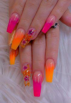 Nail Design Glitter, Cute Acrylic Nail Designs, Best Acrylic Nails, Nail Art Designs, Orange Nail Designs, Tropical Nail Designs, Orange Acrylic Nails, Orange Ombre Nails, Neon Nails