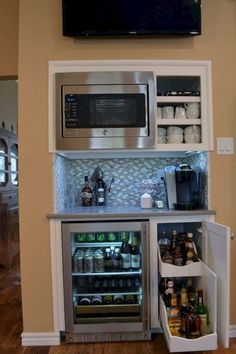 Top Built In Microwave Cabinet Inspirations For Beautiful Kitchen - Kitchen Pantry Cabinets Coffee Station Kitchen, Coffee Bars In Kitchen, Coffee Bar Home, Home Coffee Stations, Coffee Coffee, Built In Microwave Cabinet, Kitchen Built Ins, Microwave In Pantry, Built In Kitchen Appliances