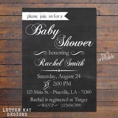Printable Baby Shower invitation, Custom Baby Shower Invite, 5x7, chalkboard design  www.letterkaydesigns.etsy.com Letter Kay Designs