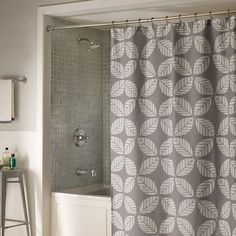 Shower curtain with geometric leaf motif.  Product: Shower curtainConstruction Material: PolyesterCo...