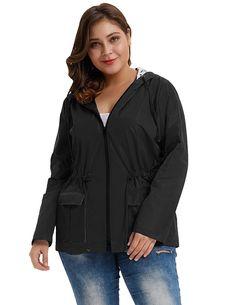 fcfb8bc515 Women's Waterproof Lightweight Rain Jacket Active Outdoor Hooded Raincoat  HN0036 - Black - CO1896TZD7Q