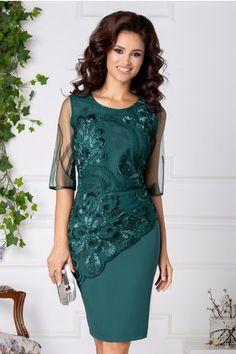 Rochie Marysa verde de ocazie cu broderie 3D Lily, Boutique, Stylish, Formal Dresses, Costume, Outfits, Floral, Casual, Clothes