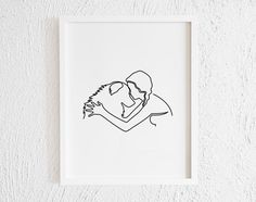Girl with Labrador Retriever One line Drawing Print. Minimalist Hugging My Dog Art Illustration Hugging Drawing, Line Drawing, Drawing Tips, Dog Tattoos, Small Tattoos, Animal Drawings, Art Drawings, Doodle Wall, Outline Art