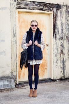 Navy Fur Vest & Boho Tunic Dress | Hustle + Halcyon