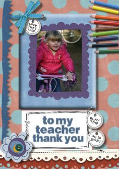 Thank you card I made for my Granddaughter's teachers when she left nursery