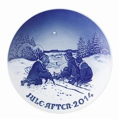 Bing & Grondahl 2014 Christmas Plate- Sled Ride in the Snow #Christmas #plates #danish #plate #B&G #Bing & Grondahl #2014