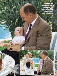 gojennifer20: Hello! magazine interview and photos with the Monaco Princely Family, May 2015-Prince Albert with Hereditary Prince Jacques and inset with Princess Charlene holding Jacques and Prince Albert holding Gabriella