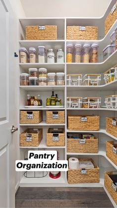 Use bins to contain your items. Published by Our Perfecting Manor - Modern Farmhouse Kitchen Pantry Design, Kitchen Organization Pantry, Diy Kitchen Storage, New Kitchen, Kitchen Dining, Storage Ideas For Pantry, Open Cabinets In Kitchen, Organization Ideas For The Home, Pantry Storage Containers